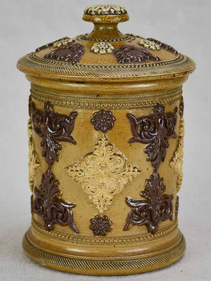 Small antique French sandstone tobacco pot with lid and decorative motifs