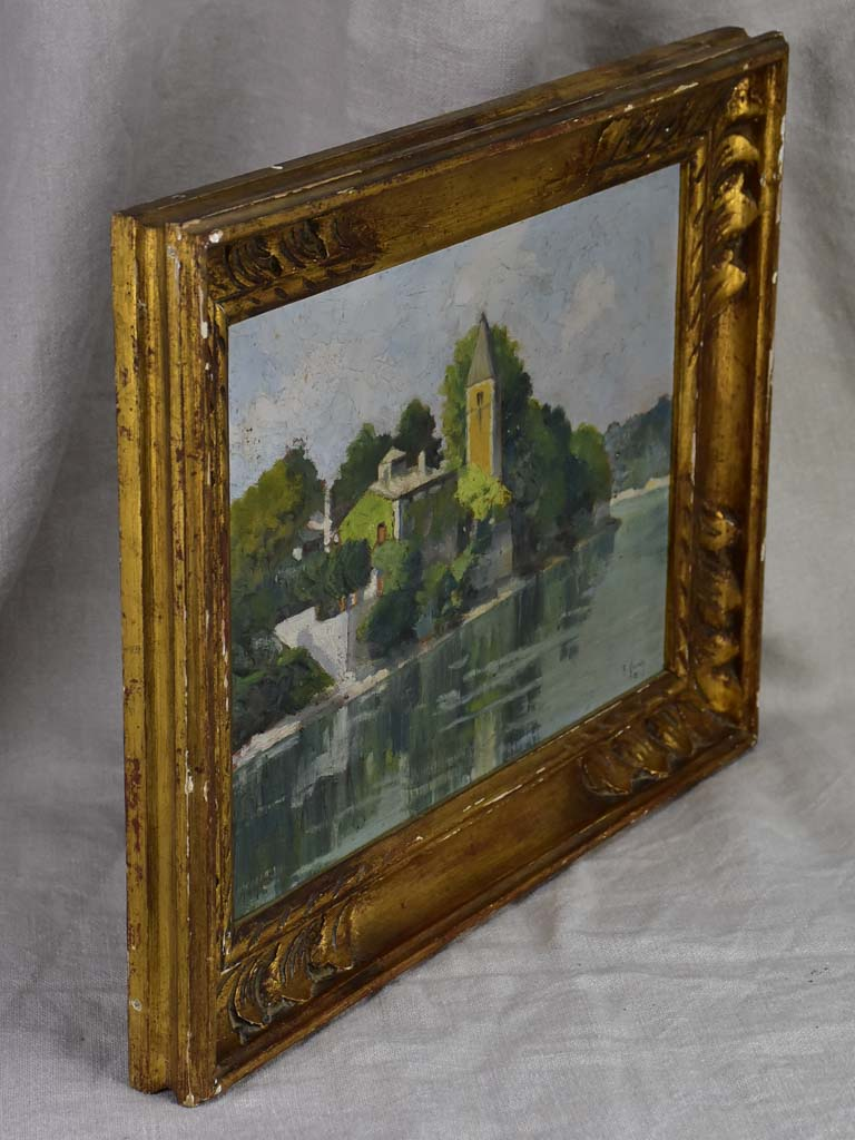 "[RESERVED S & P] Small French painting of a church on a river 1933 - framed 17"" x 13½"""