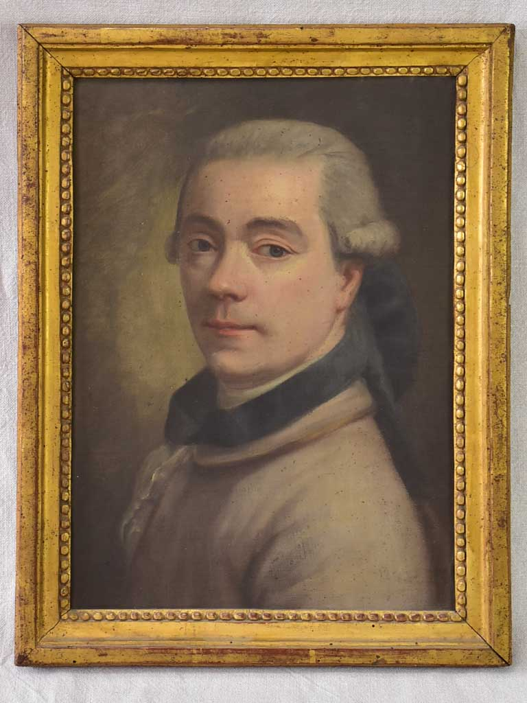 "18th Century French portrait of a man in original frame - oil on canvas 15"" x 19"""