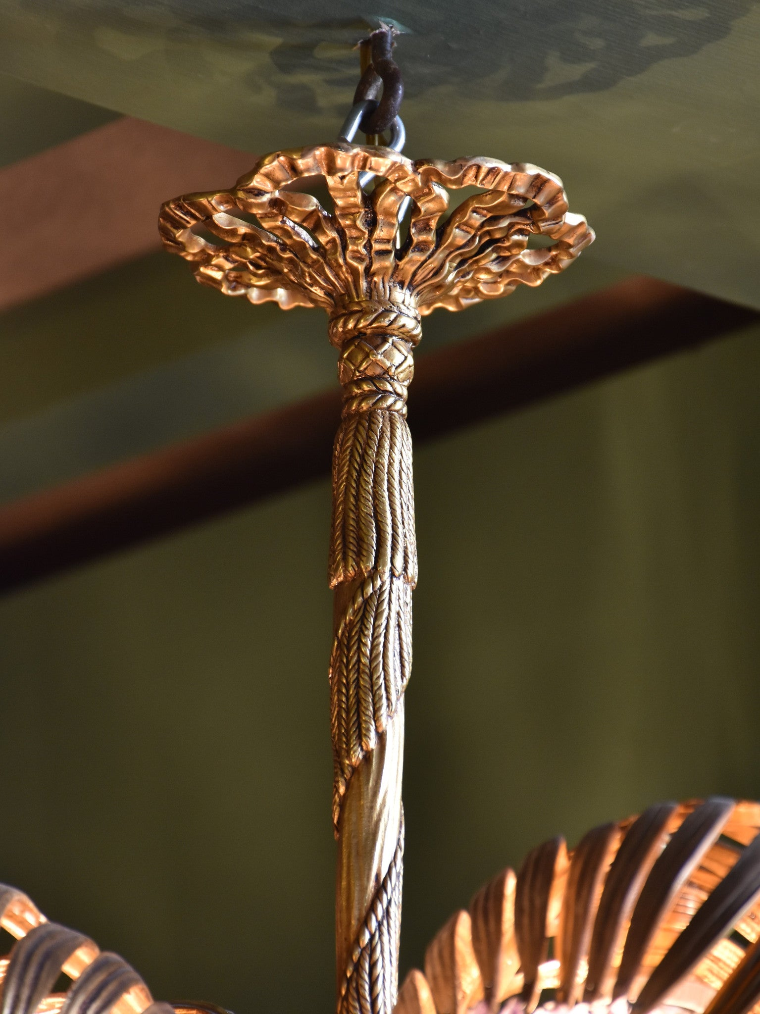 Mid-century gilded bronze palm frond chandelier