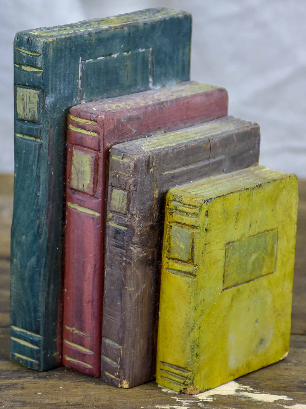 Antique French wooden sculpture of books