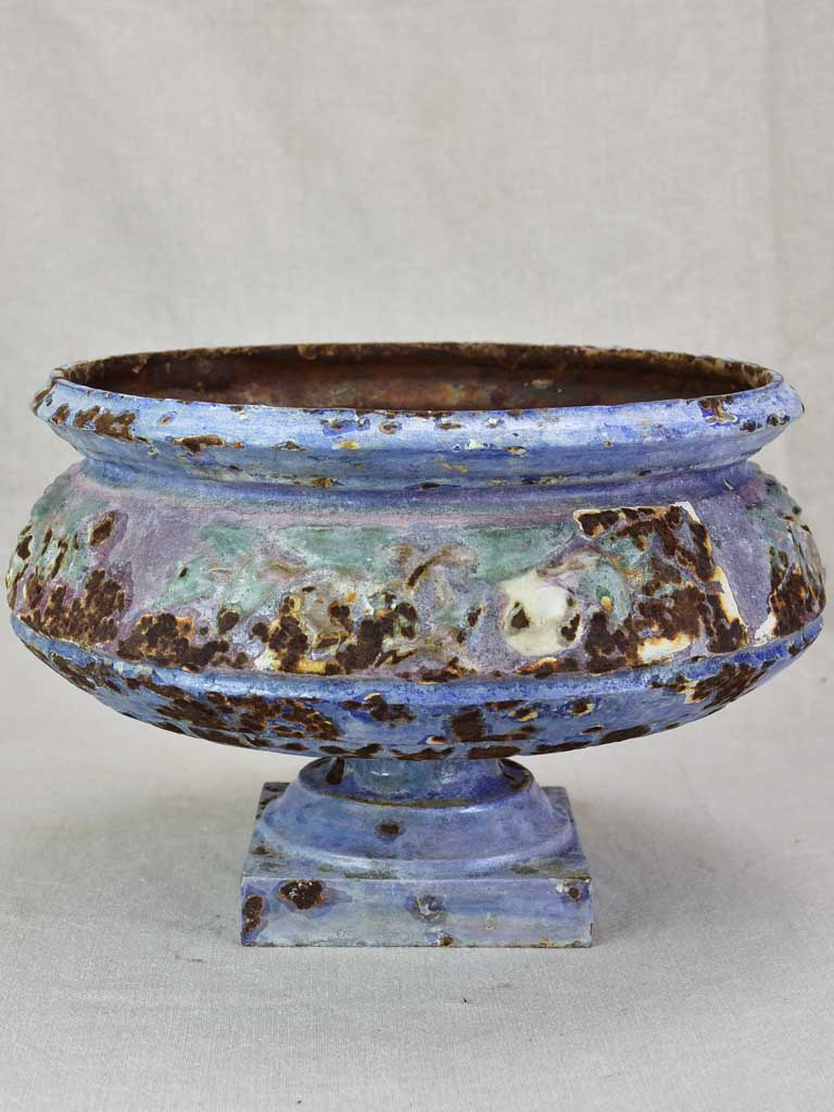 Superb 19th century enamelled cast iron planter vase with blue violet glaze