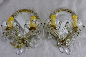 "Small pair of Venetian mirrored wall sconces - 1940's 7½"" x 11"""