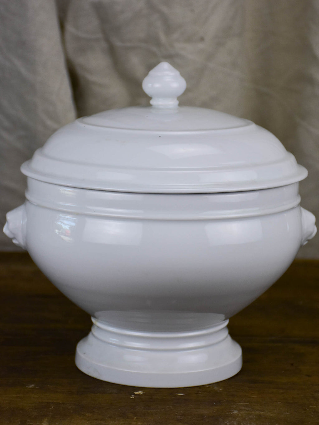 Antique French white soup tureen with lion's heads