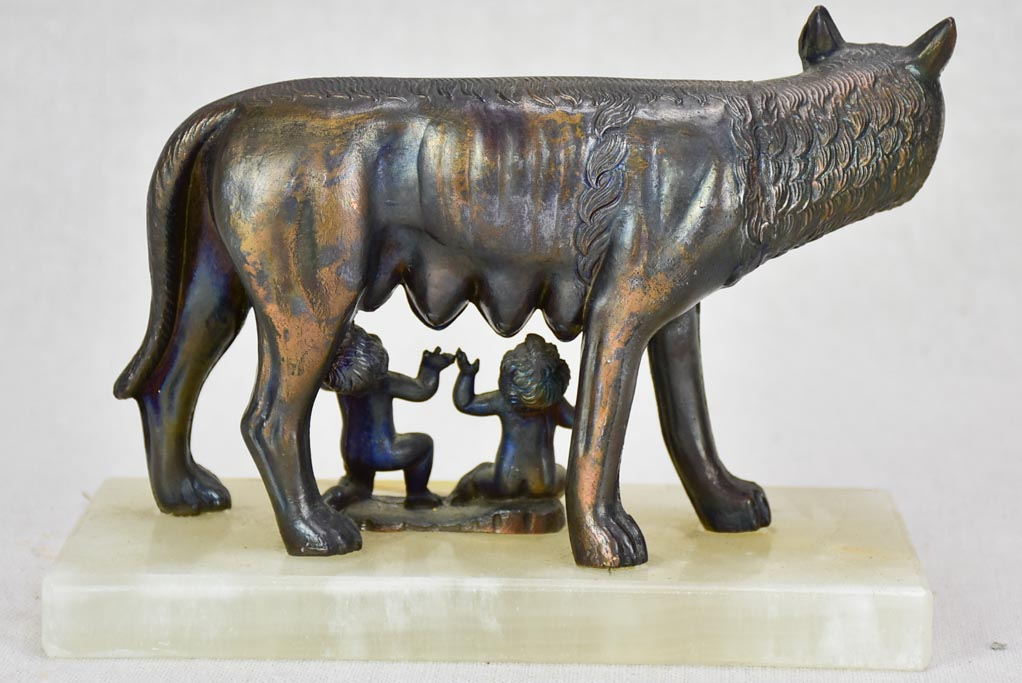 "La Lupa Capitolina ""the Capitoline Wolf"" Romulus and Remus bronze and alabaster vintage sculpture"