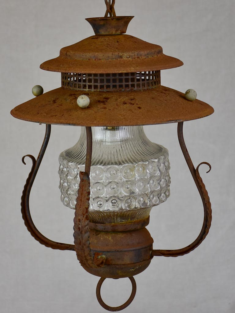 Vintage Italian lantern with foliage motifs and glass lampshade 12¼""