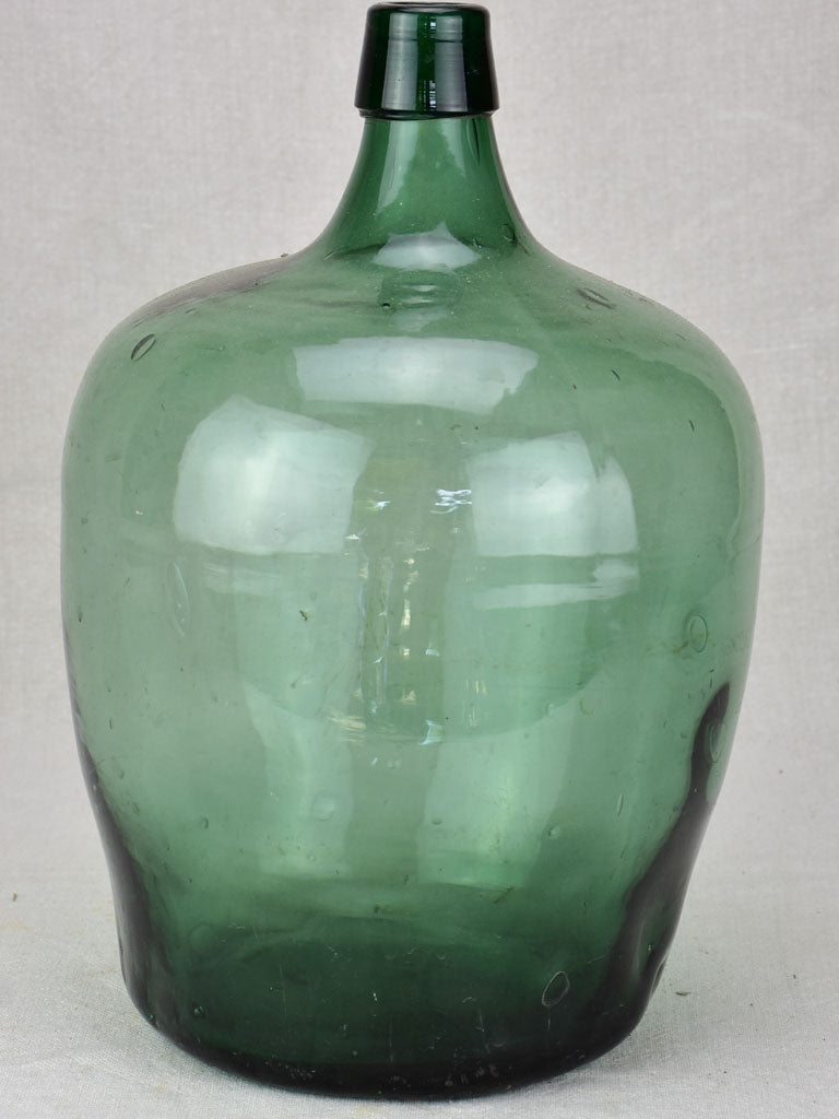 Vintage green glass demijohn wine bottle from La Rochelle 15""
