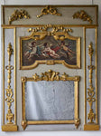 "18th Century Louis XVI trumeau mirror with oil on canvas - cherubs 52¾"" x 41¼"""