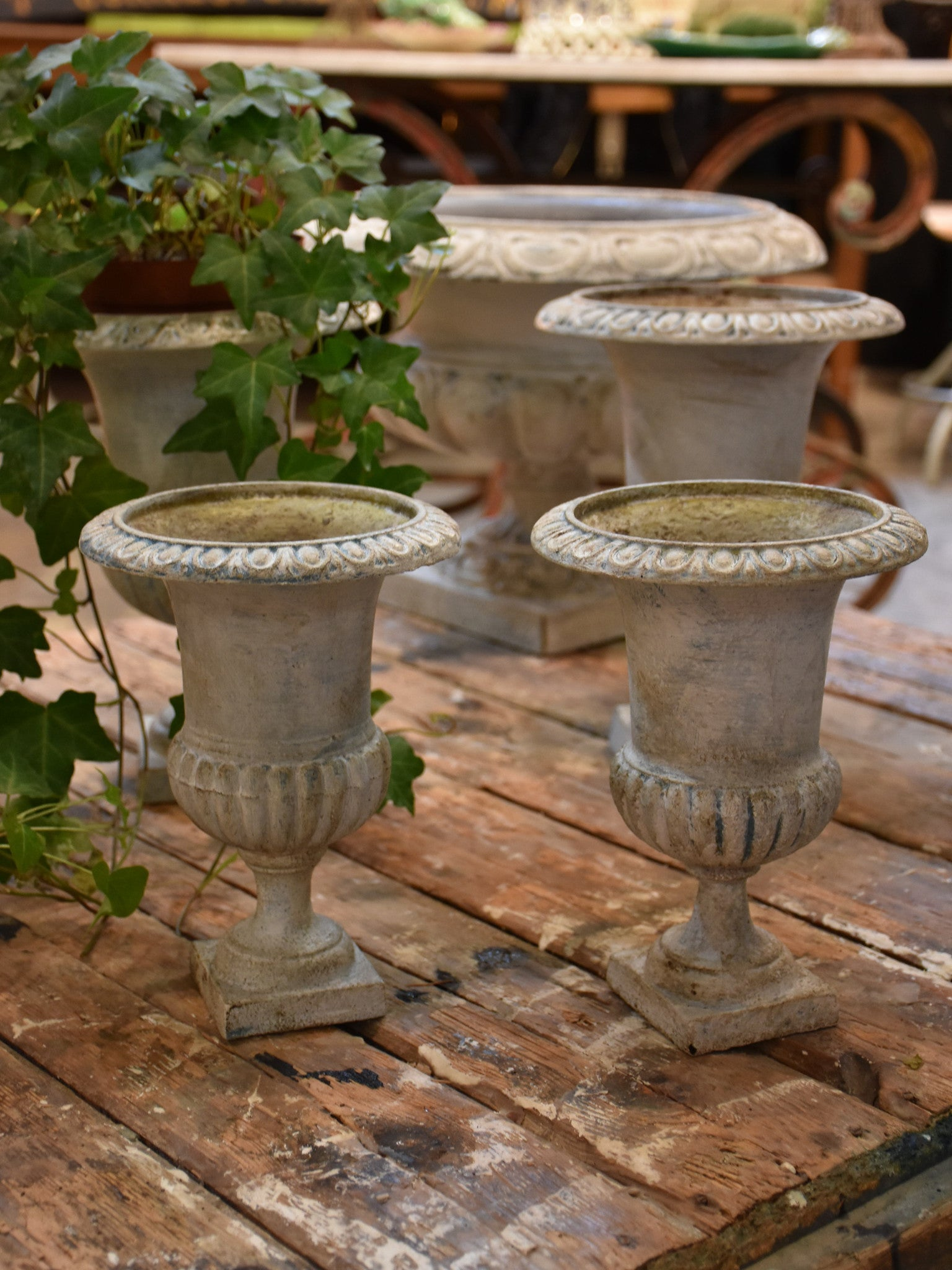 Collection of antique French Medici urns