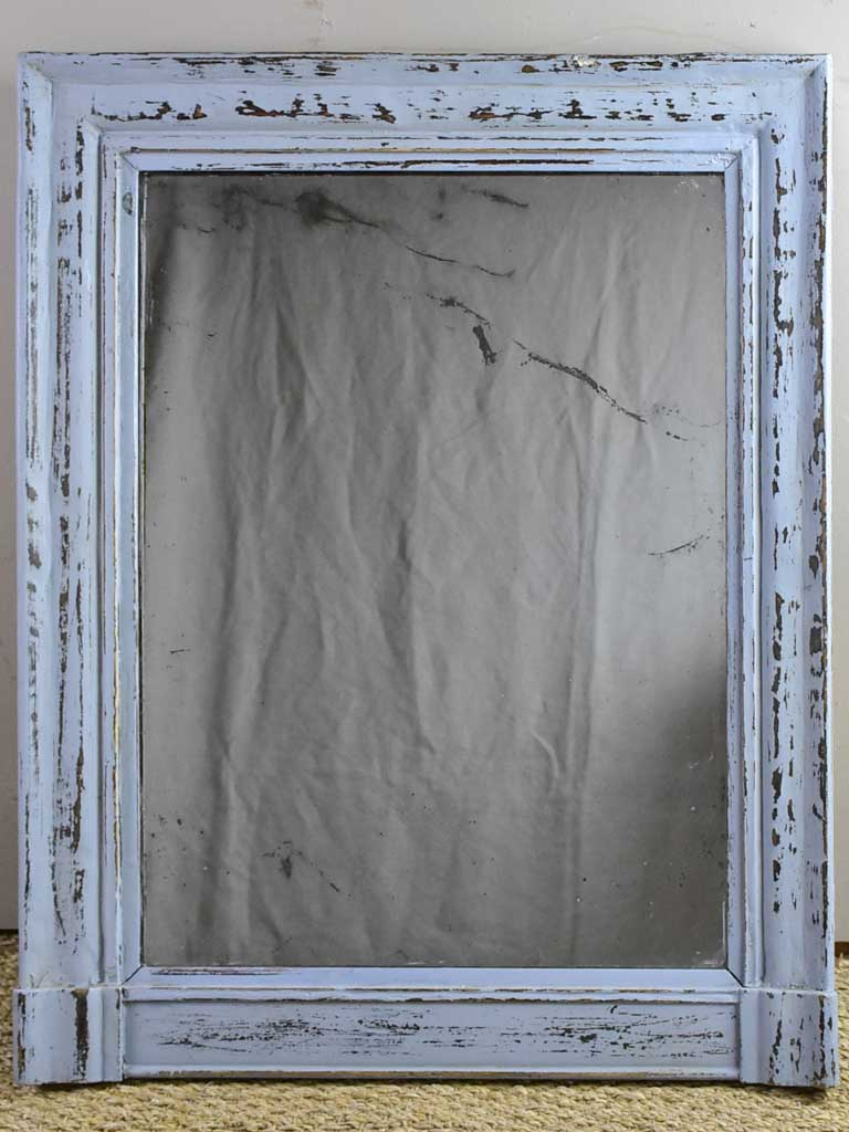 "Antique French mantle mirror with grey patina and original timeworn glass 22¾"" x 28¾"""