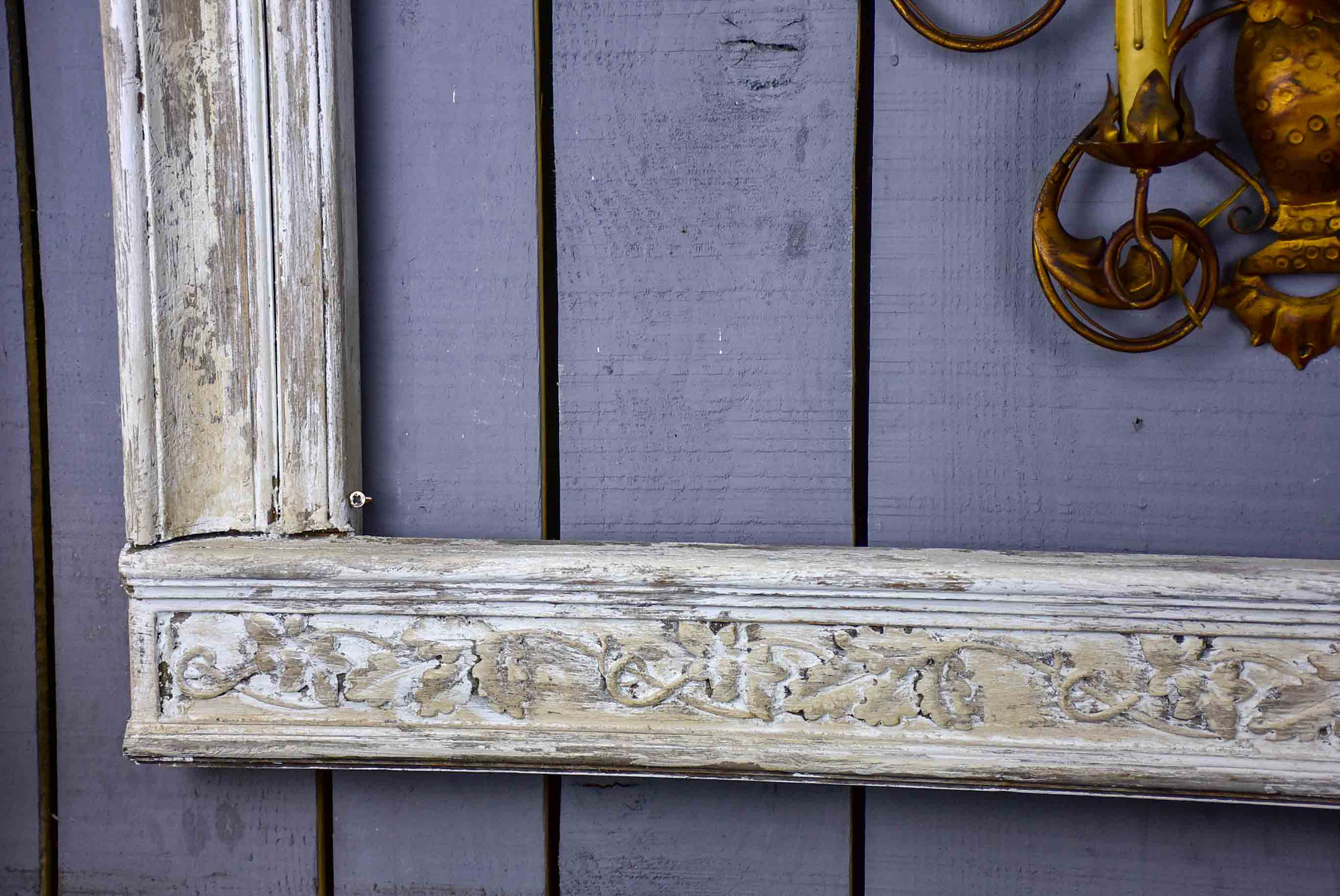 Very large antique French frame with white patina