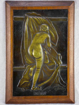 "Figurative bathing woman - bronze with beech frame signed H. Derby 1930's 11½"" x 8"""