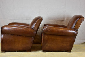 Pair of vintage French leather club chairs - 1960's