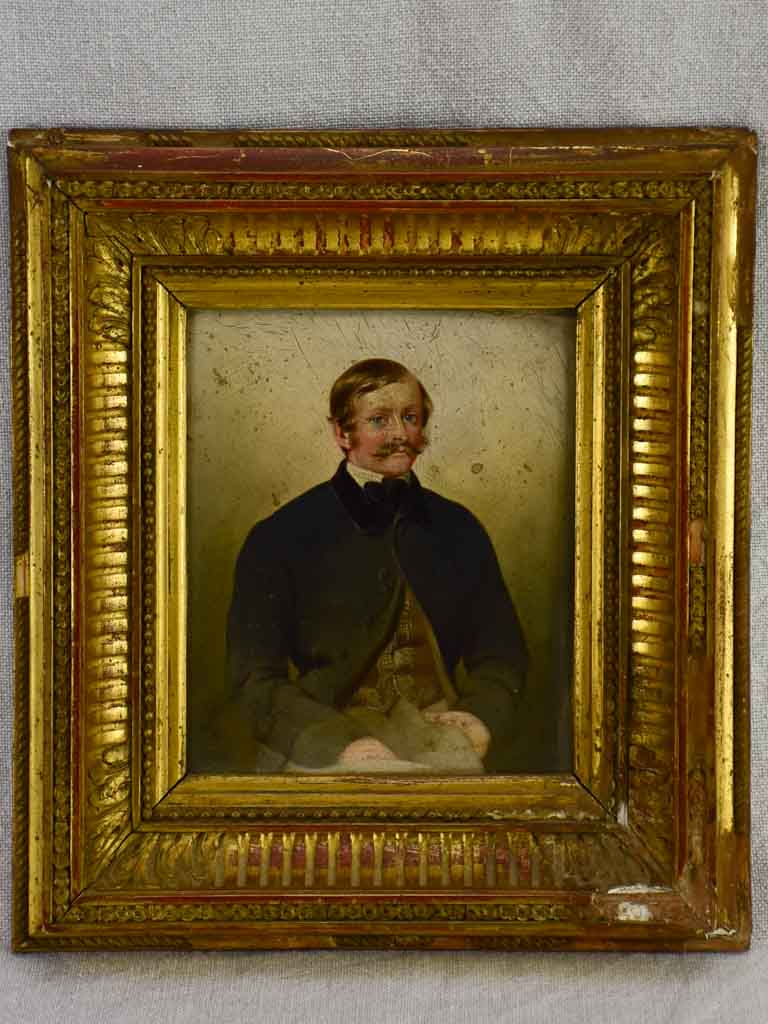 19th Century French portrait of a male in gilded frame. Oil on wood