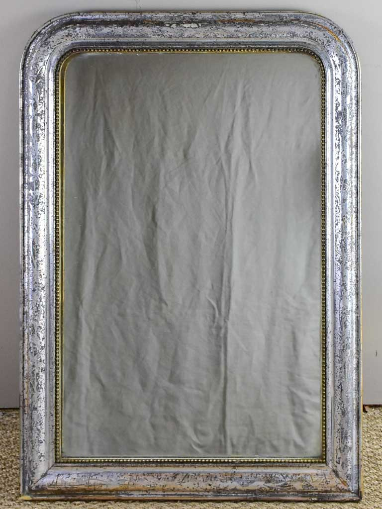 "19th Century Louis Philippe mirror with timeworn silver frame 25½"" x 35¾"""