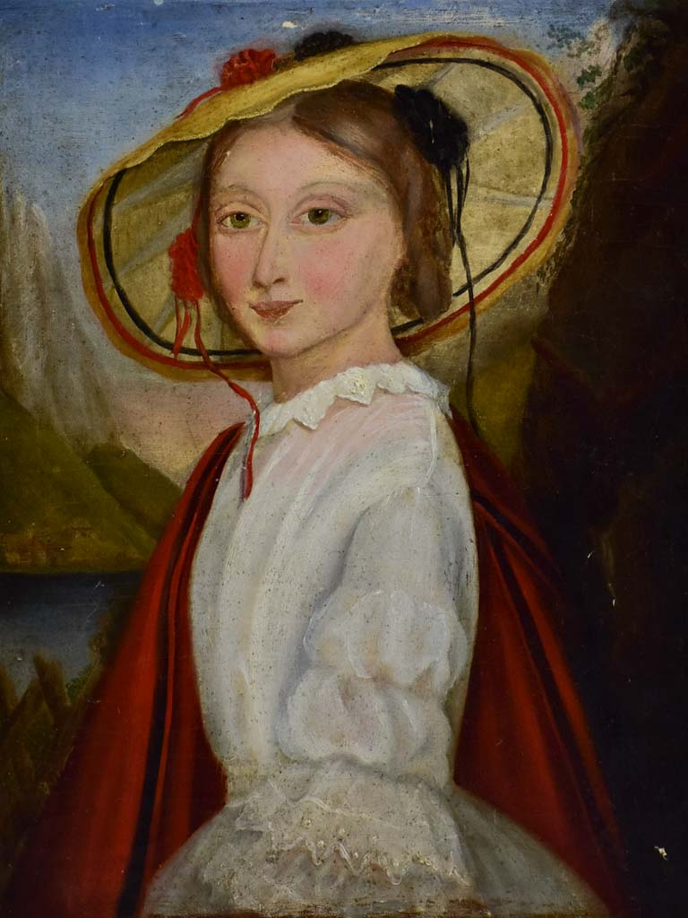 "19th Century French portrait of a young lady. Oil on canvas 10¾"" x 14¼"""