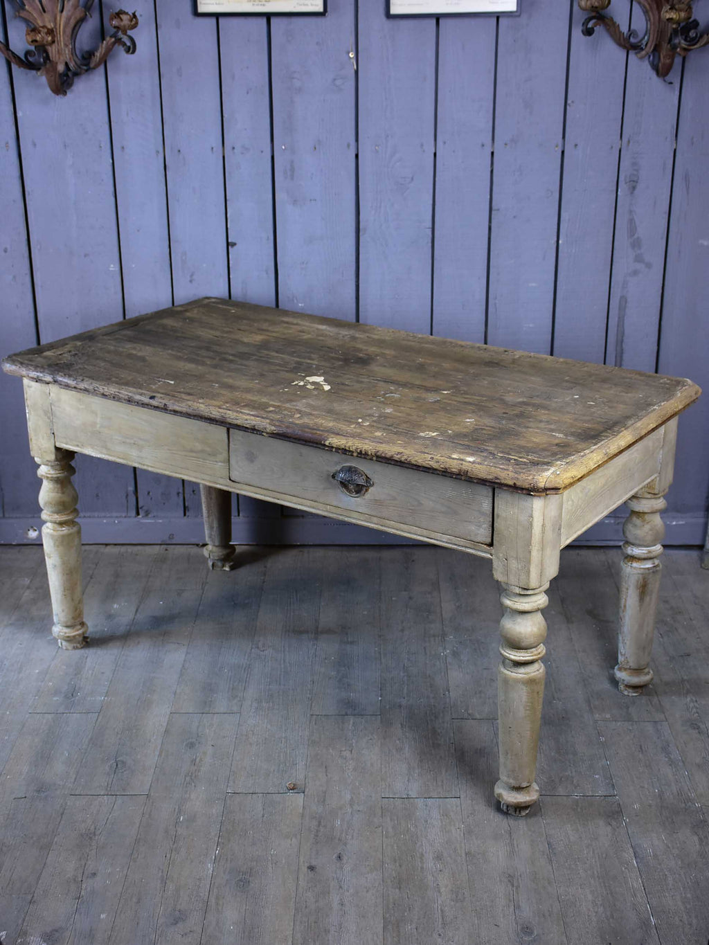Rustic French butcher's table with drawer