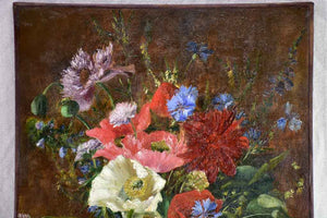 "Antique French still life floral bouquet with poppies and cornflower blooms signed. Oil on canvas 16¼"" x 25½"""