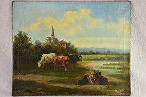 "19th Century French landscape painting with cows in a field - Normandy 27¼"" x 21¾"""