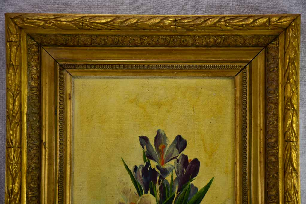 Antique French still life - crocus flowers in a pot. Oil on canvas, signed. 25¼ x 17¼""""