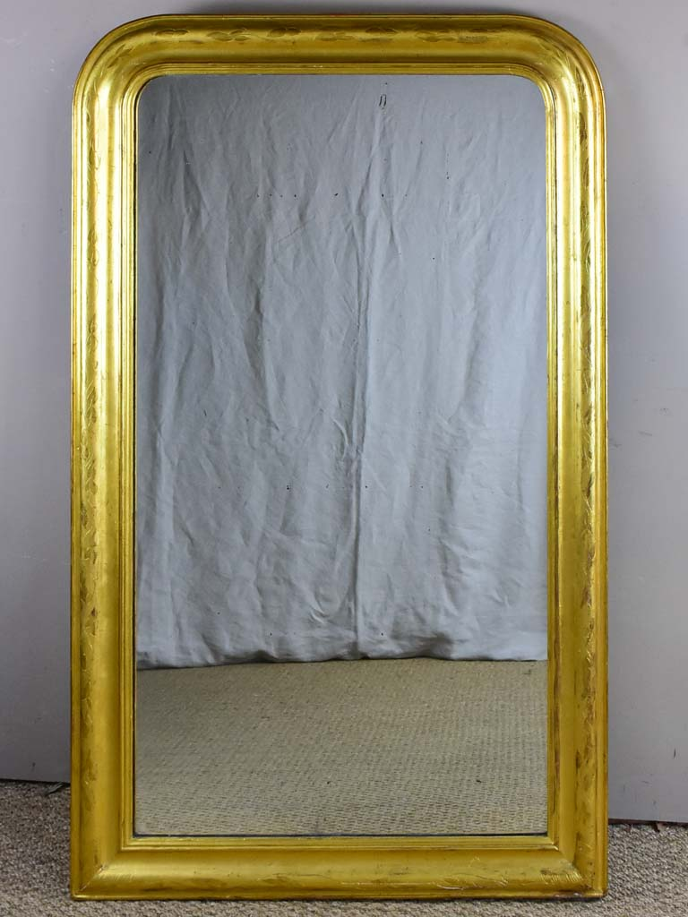 "Large gilded Louis Philippe mirror from the 19th Century with simple frame 32¾"" x 54¾"""