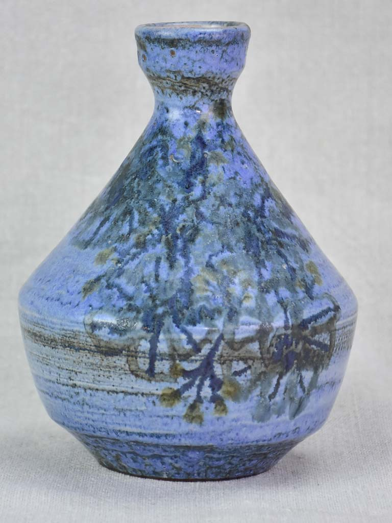 Vintage clay vase with periwinkle blue glaze - Dominique Baudart 7""