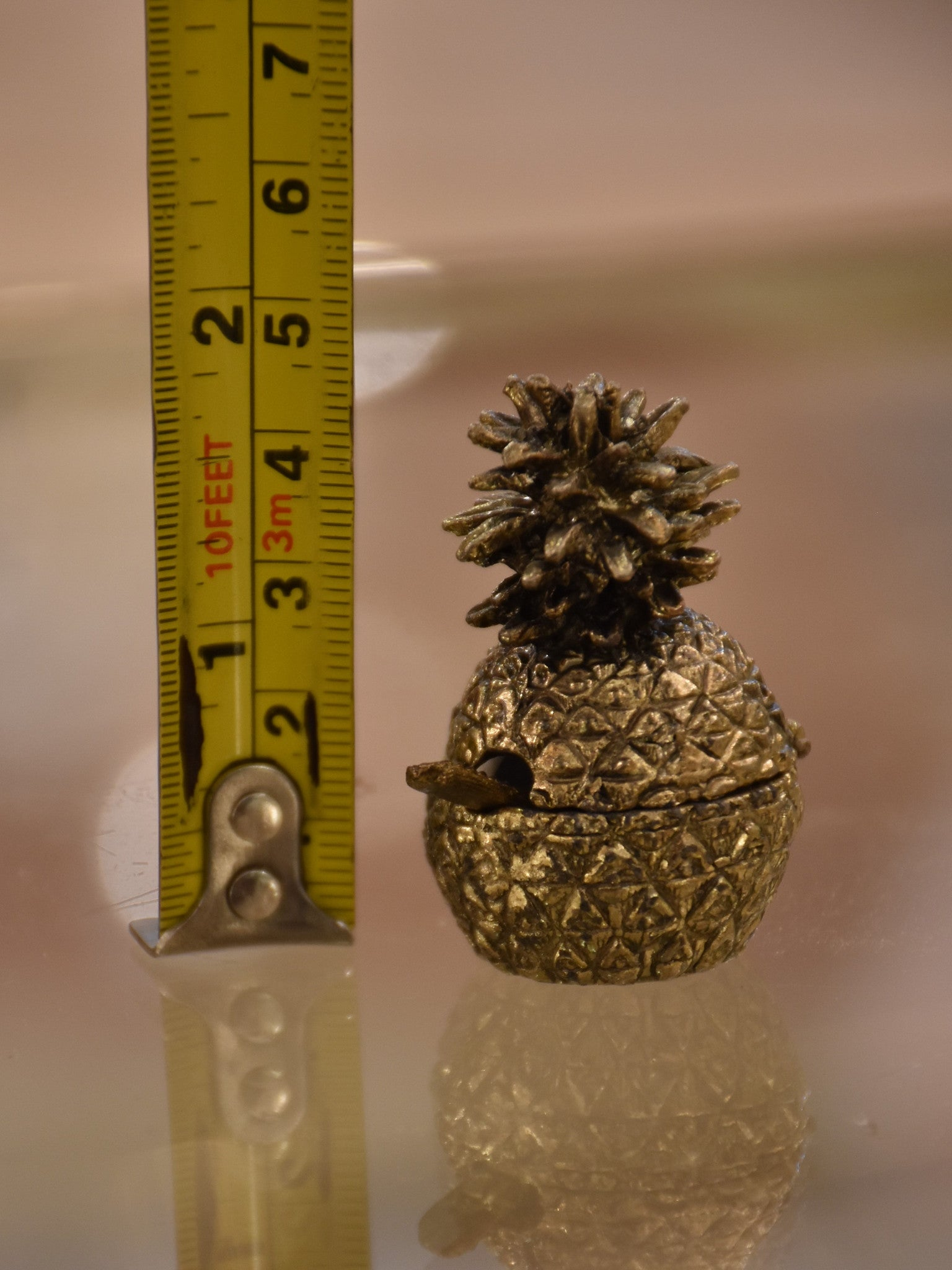 Miniature pineapple salt cellar with spoon