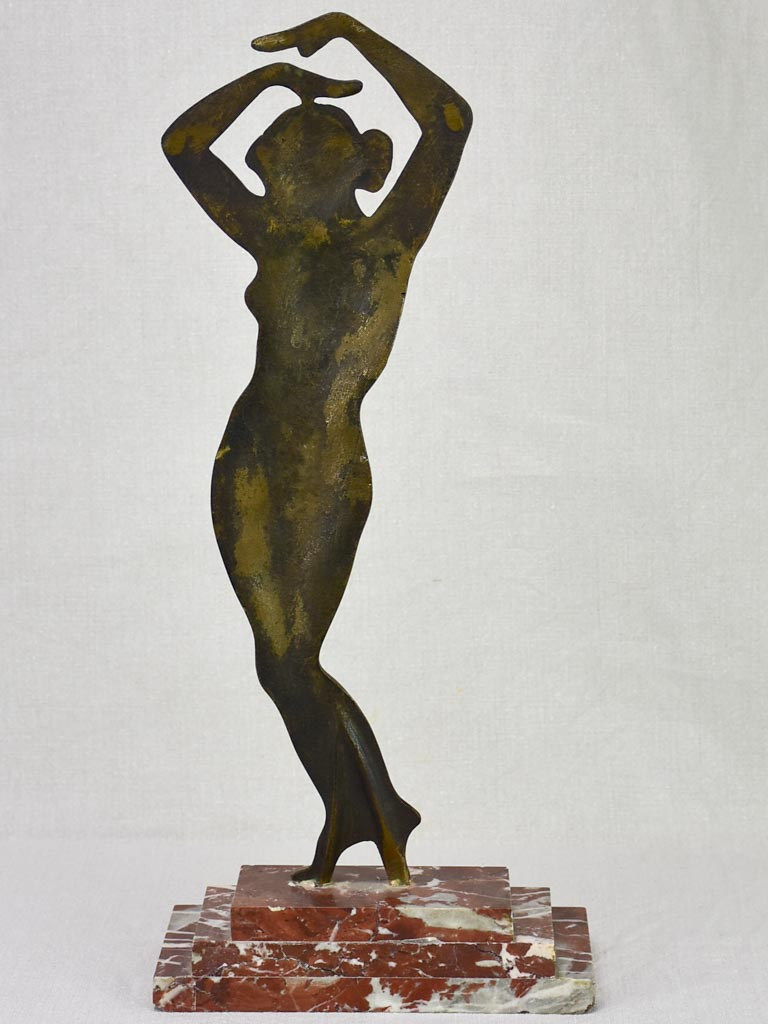 Art Deco statue of a figurative lady in bronze on marble base 19¼""