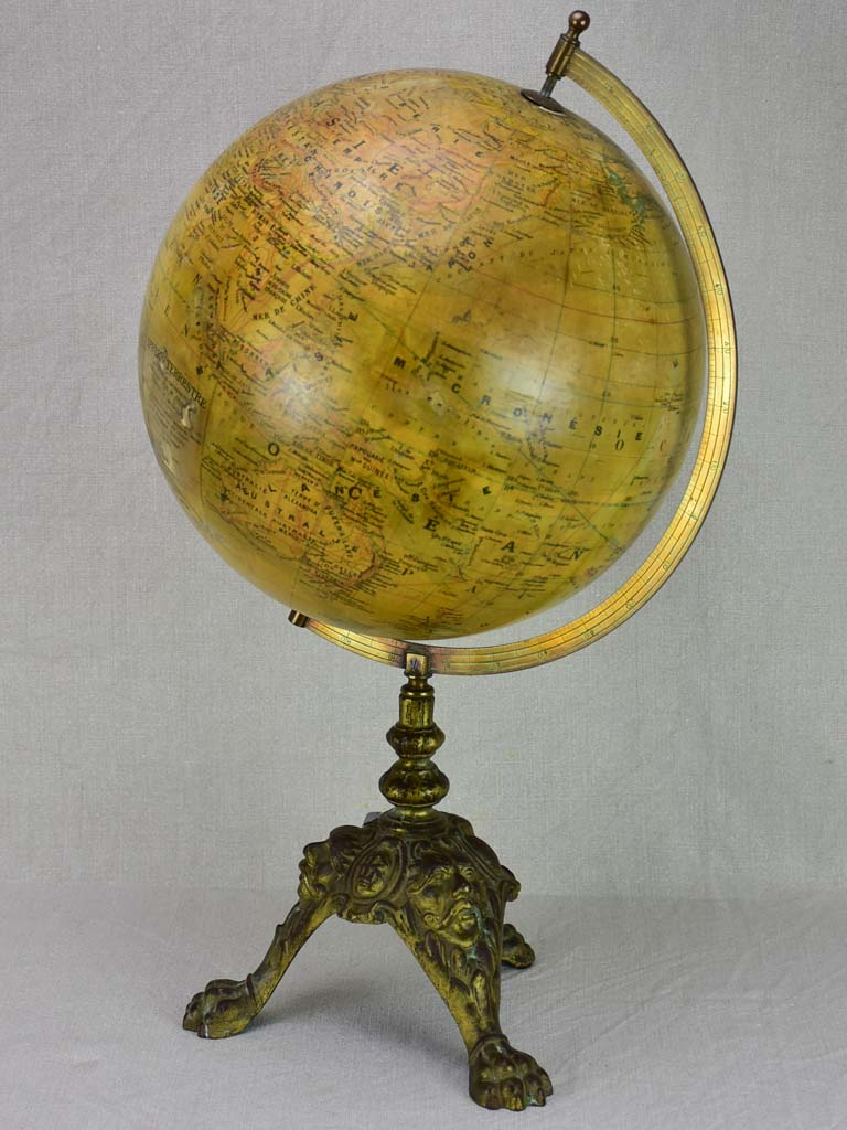 19th century French world globe with decorative base 22¾""