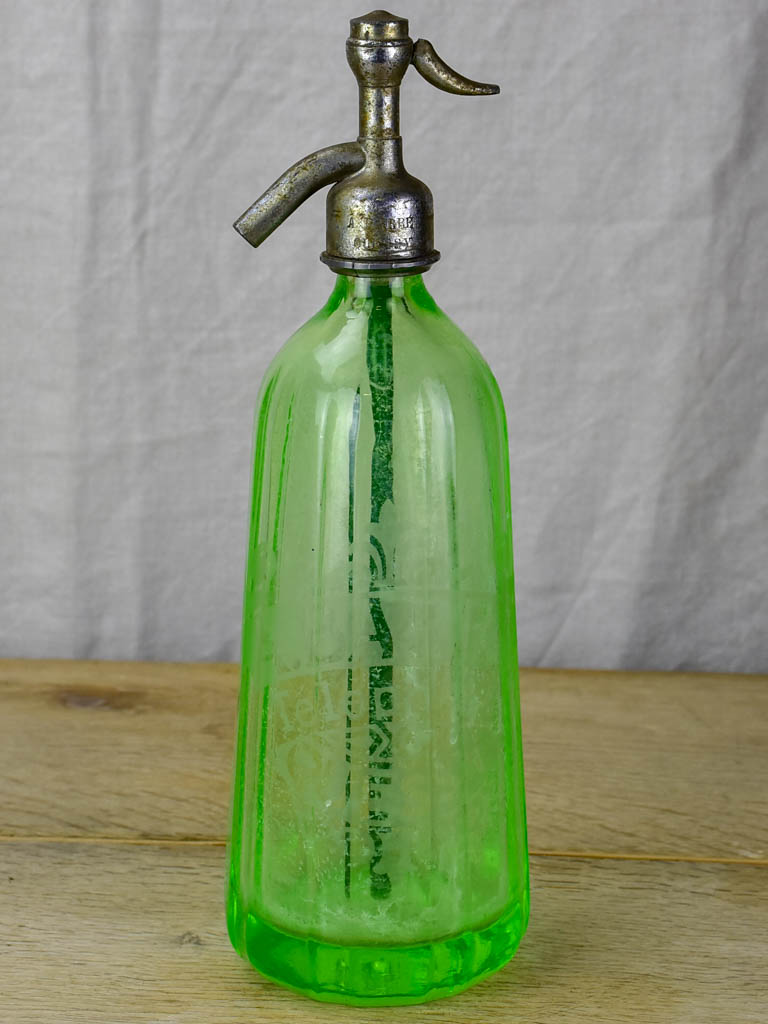 Early 20th Century green seltzer bottle