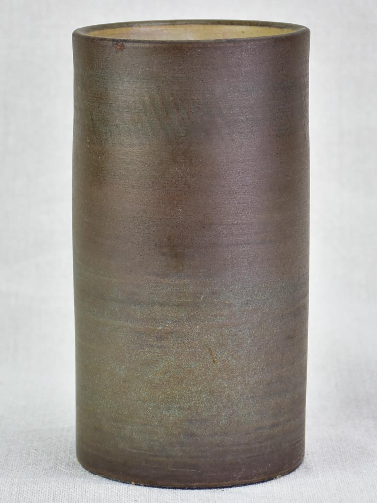Vintage clay vase with brown glaze - Dominique Baudart 8""