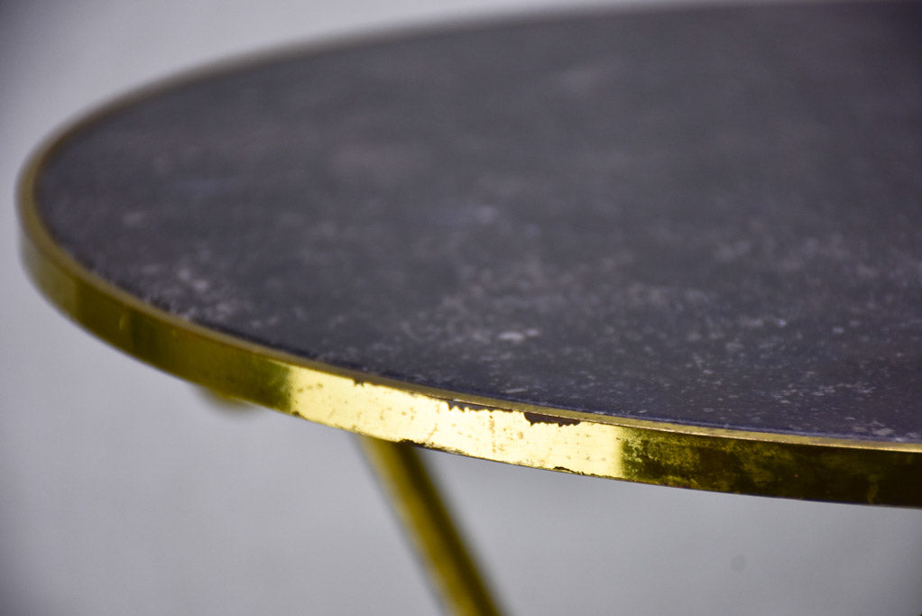 Mid century marble side table with three brass legs