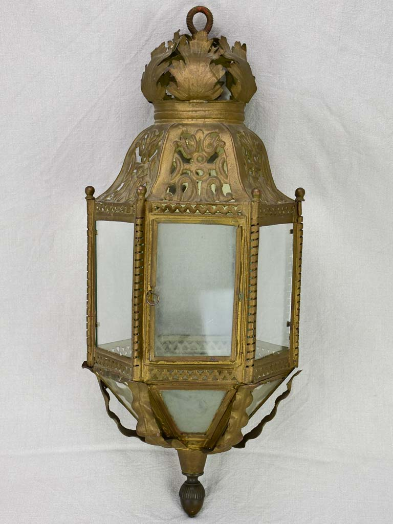 Large 19th century French lantern in tole 29¼""