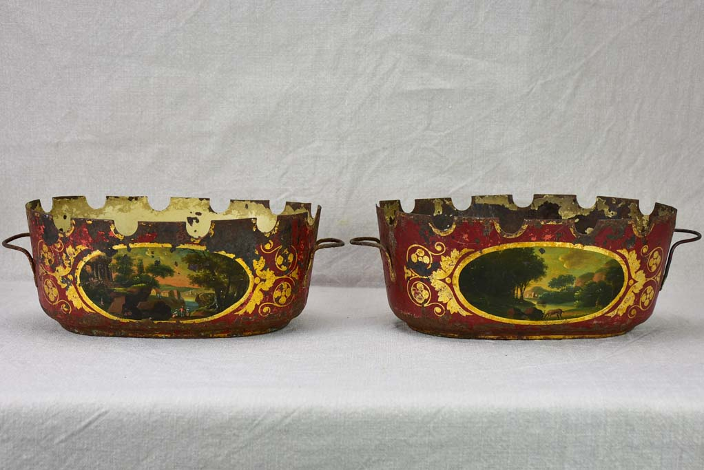 Pair of Directoire monteith glass chiller bowls in tole