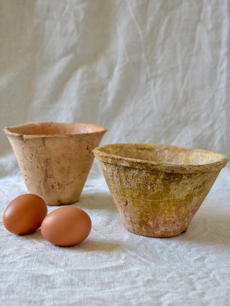Two antique French pots for collecting resin and sap