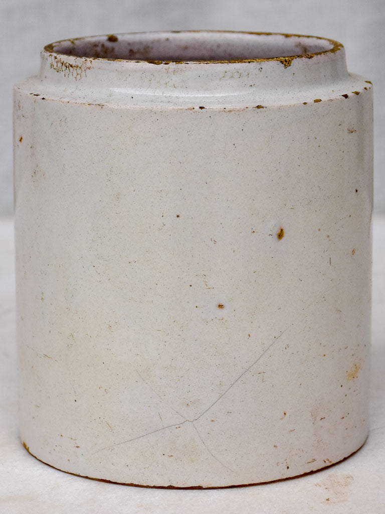 Antique French faience preserving pot - white 5½""