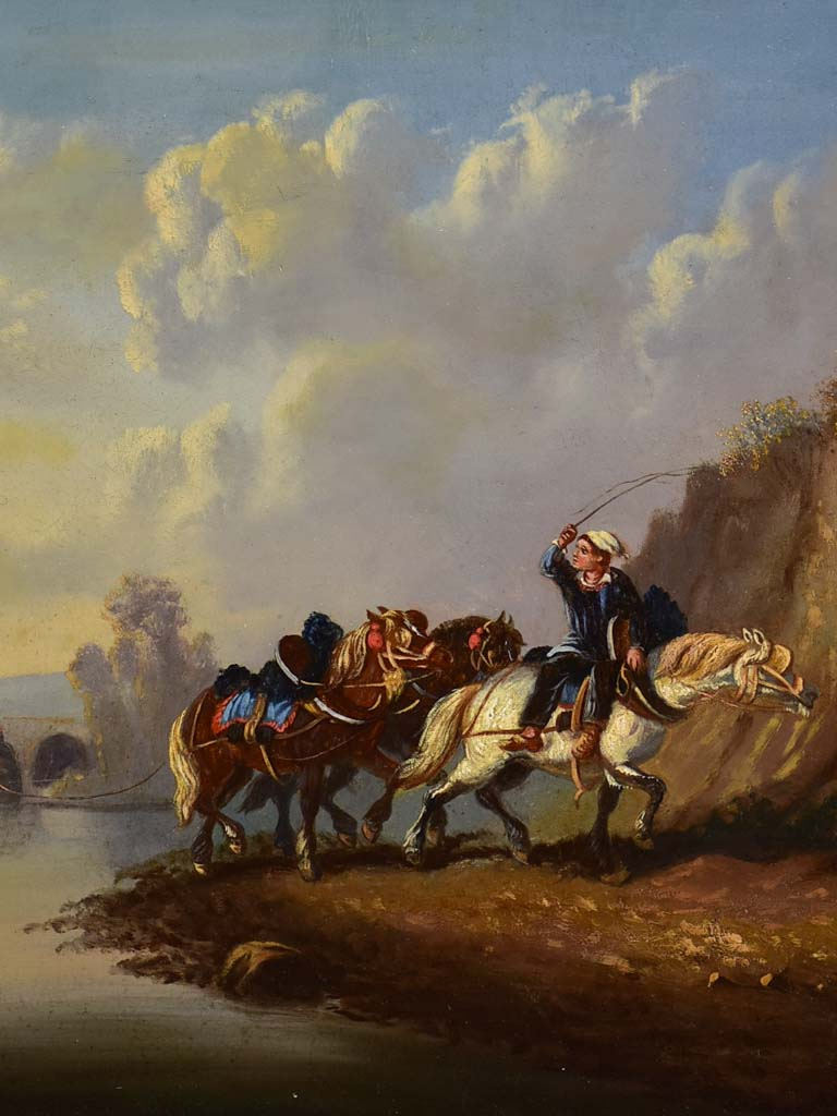 "Mid 19th century painting - work horses by a river - oil on canvas 32¼"" x 25¼"""