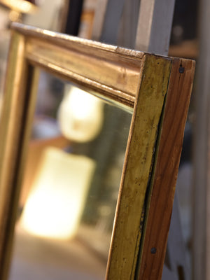Antique rectangular French mirror with gilt wood frame & mercury glass