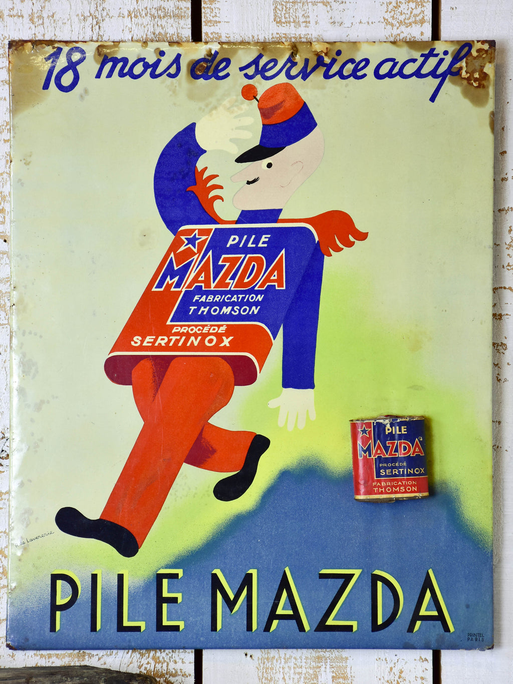 Vintage French Mazda battery sign