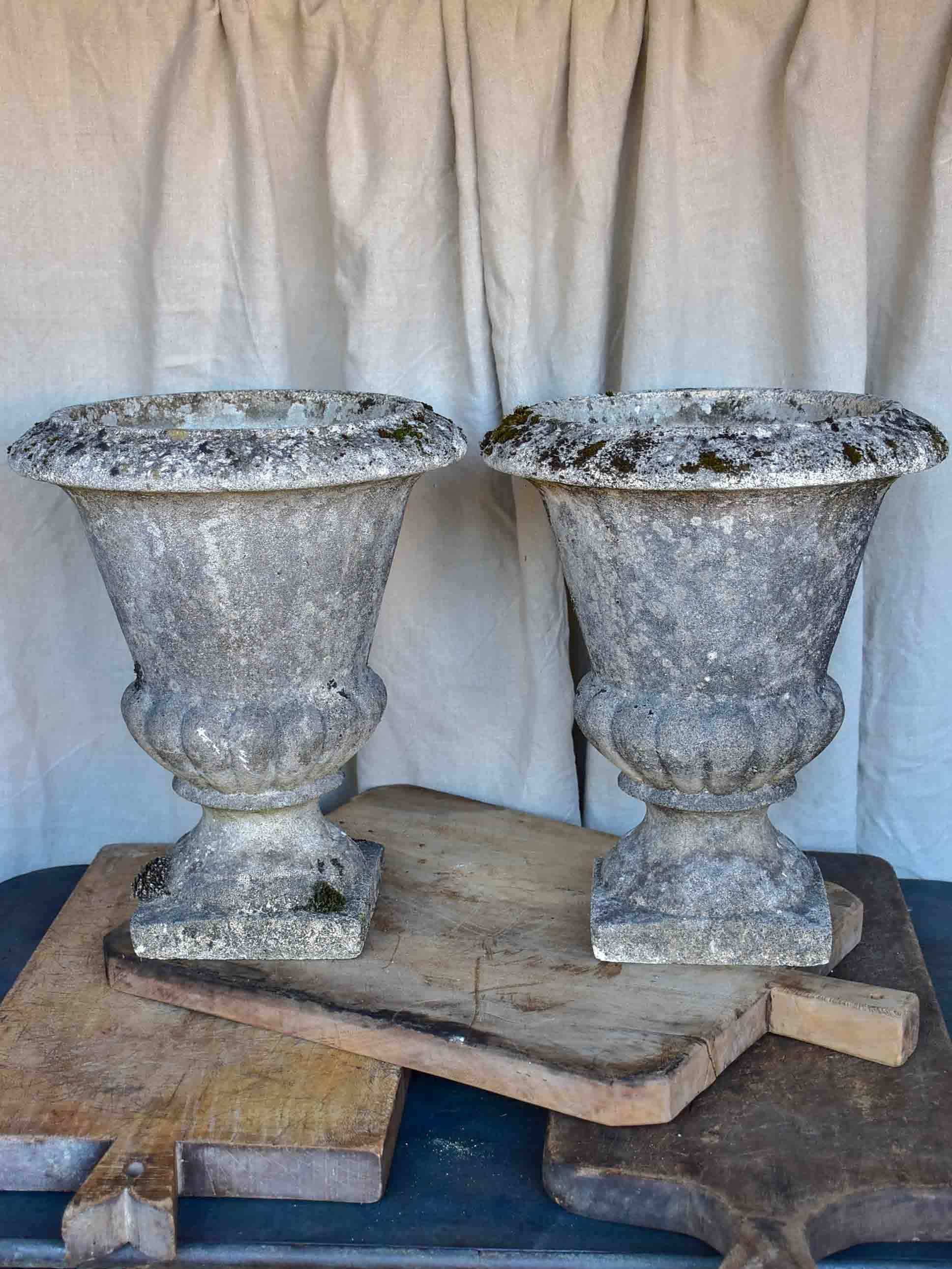 Pair of vintage French garden urns