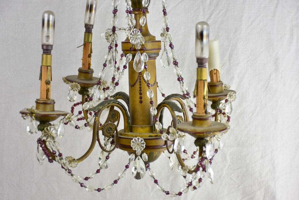 "1940's French chandelier with four lights. Clear and violet pendants. 19¼"" x 18"""