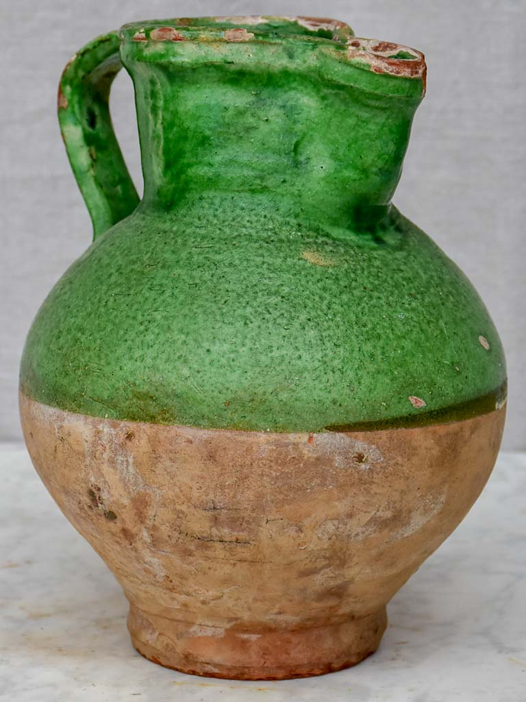 Antique French pitcher with matte green glaze