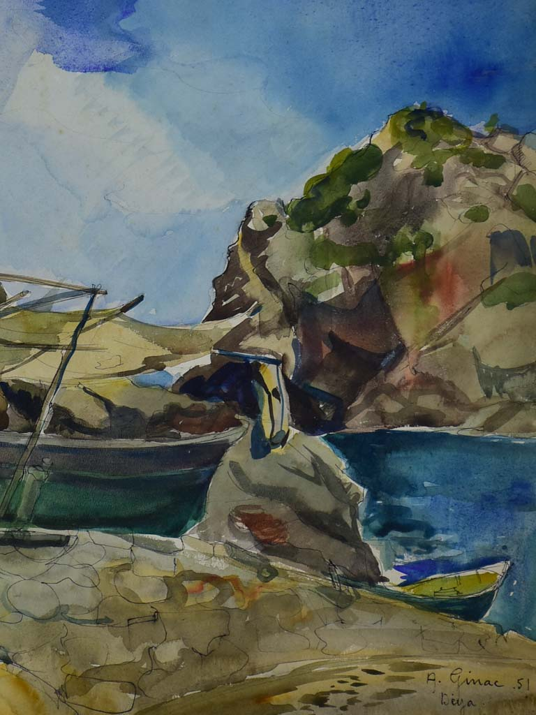 "Mid century watercolor coastal scene 30"" x 22½"""