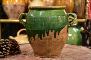 Antique French confit pot with green glaze