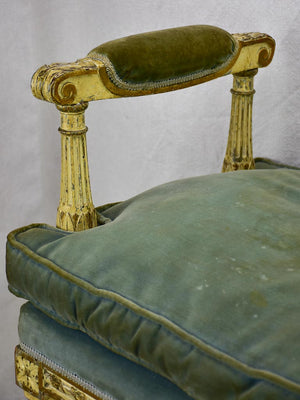 18th Century French bench seat with velvet upholstery