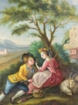 "Antique French romantic painting - oil on canvas 33¾"" x 35"""