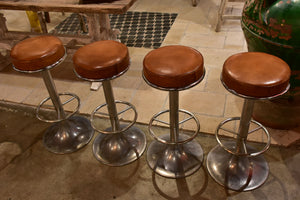 1960's Vintage French barstools with leather upholstery - 8 available