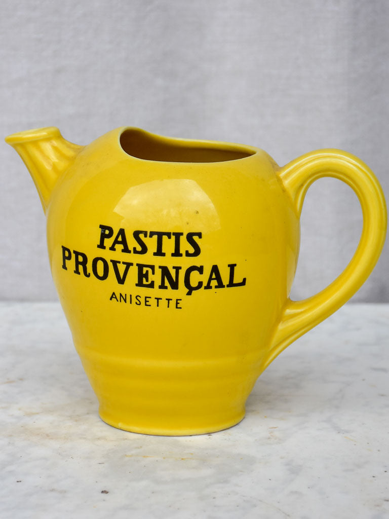 Vintage Pastis Provencal yellow water pitcher