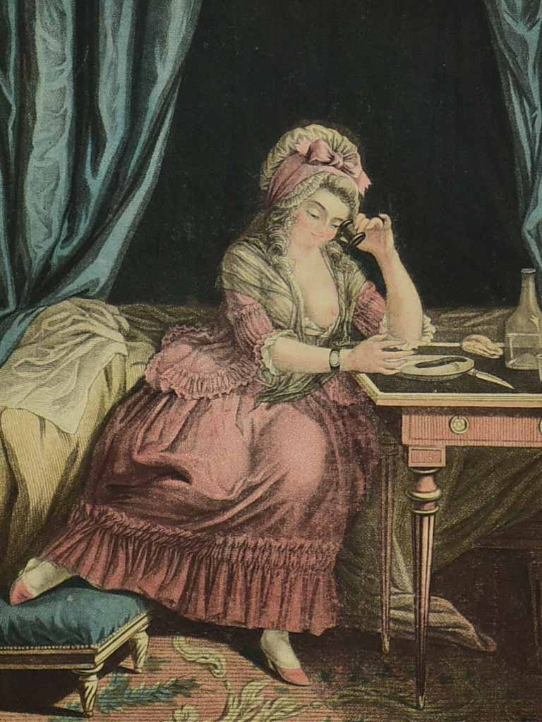 "19th century French engraving of a lady having breakfast in bed ""La Déjeuné"" 13¾"" x 17¼"""