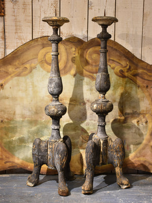 Pair of large wooden antique Italian altar candlesticks